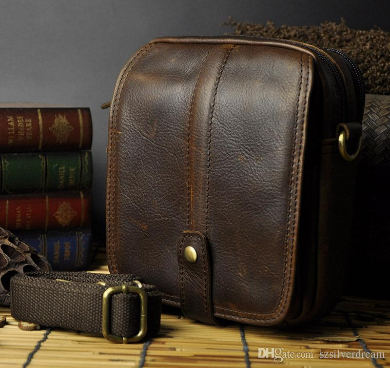Waxy Vintage Men Leather Bag 8 Inches Summer Travel Men'S Clutch ...