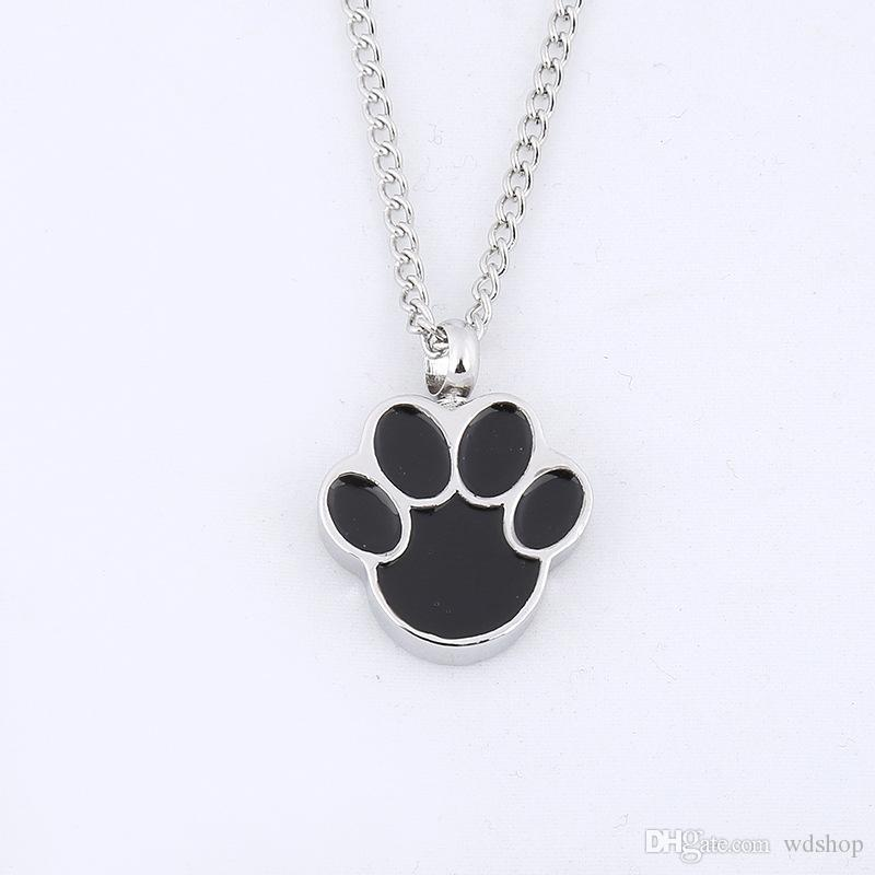 Cute Puppy Claws Birthstone en memoria de perro mascota Memorial cenizas Urna colgante, collar de cenizas Keepsake Urn Charms joyería de la cremación