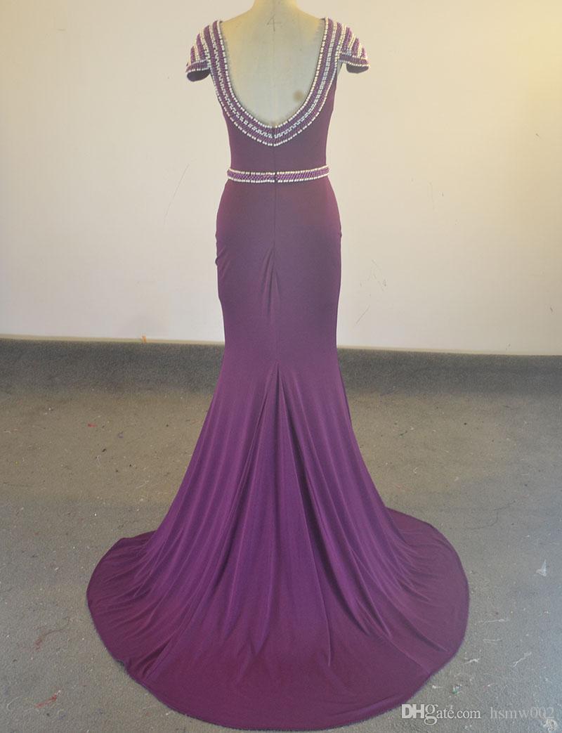 Real Simple Lila Backless Mermaid Abendkleid Formale Prom Party Kleider Elegante Vestidos De Festa Mutter Der Braut Kleider