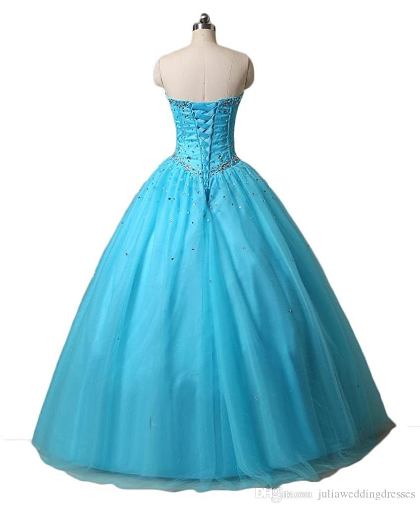 2018 Sexy Sweetheart Organza Ball Gown Long Quinceanera Dresses with Appliques Tulle Lace Up Sweet 16 Dress QC503
