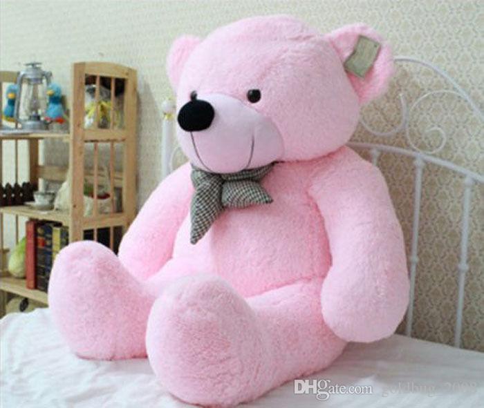 Dolması Dev 80 CM Büyük Pembe Peluş Teddy Bear Büyük Yumuşak 100% Pamuk Bebek Hediye Yeni