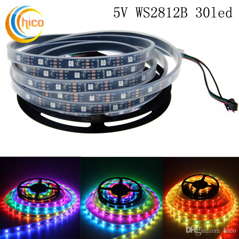 Ws2812b 30 pixelsm led strip programmable ribbon light rgb flex ws2812b 30 pixelsm led strip programmable ribbon light rgb flex individually addressable dream color ip65 ip67 ip20 blackwhite pcb dc5v pixel led strip aloadofball