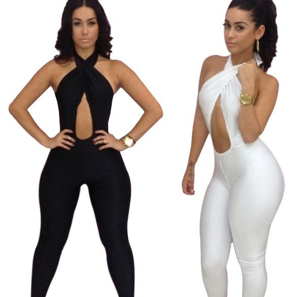 White Black Halter Jumpsuit Women Backless Bodycon Jumpsuit Romper