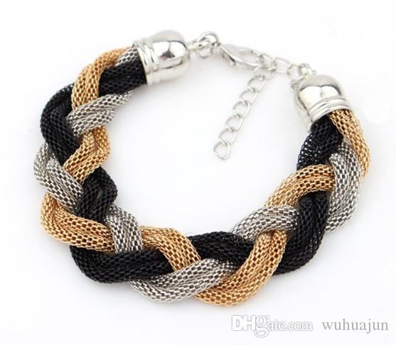 Good Quality Personal Style Chains Bracelets 6 Rows Mix Color Bracelet Women Mesh Chain Cross Bracelets Female Cheap Bracelet