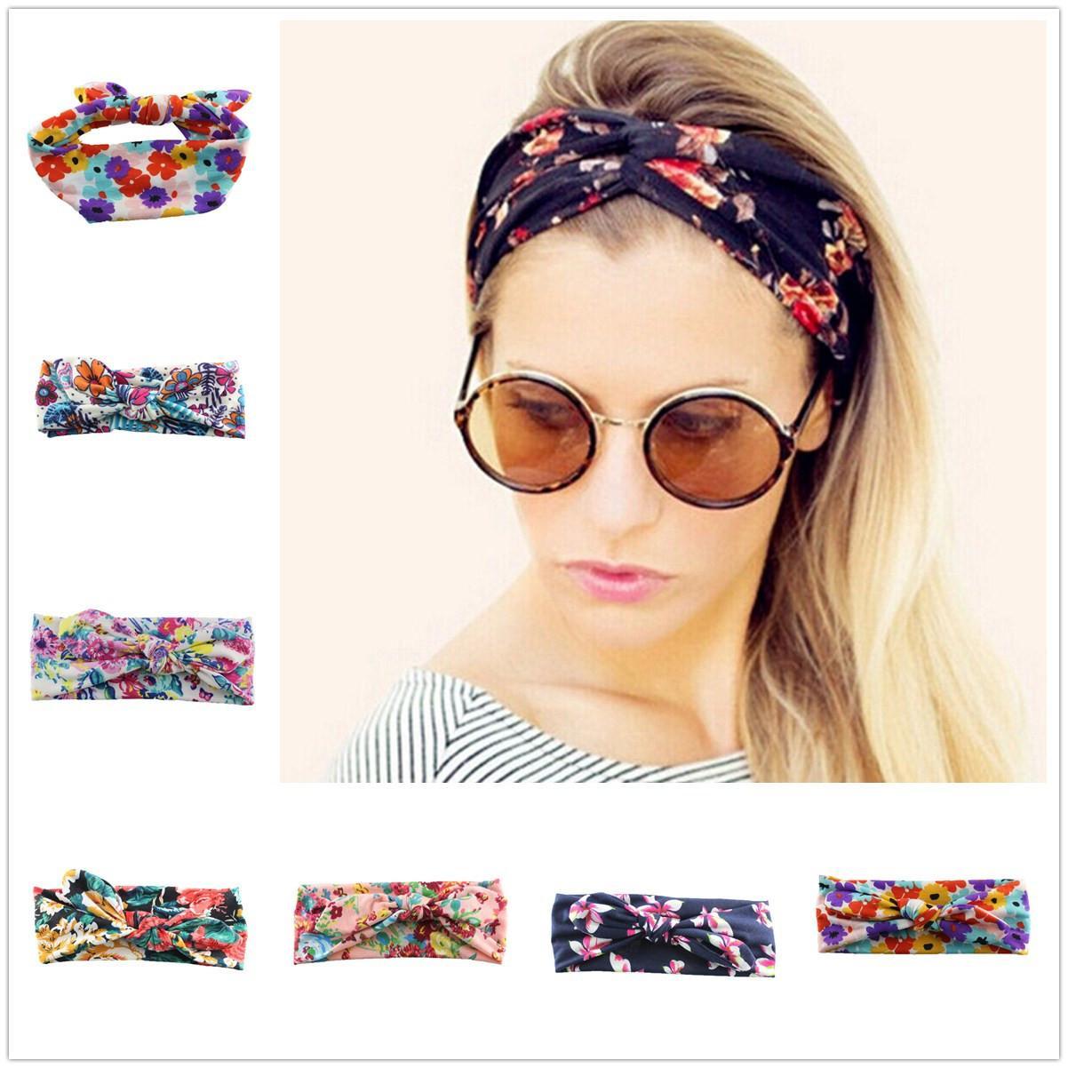 Color de la mezcla Adulto de impresión de algodón de flores Accesorios para el cabello Hair Band Diadema Bow niño pequeño Head Band