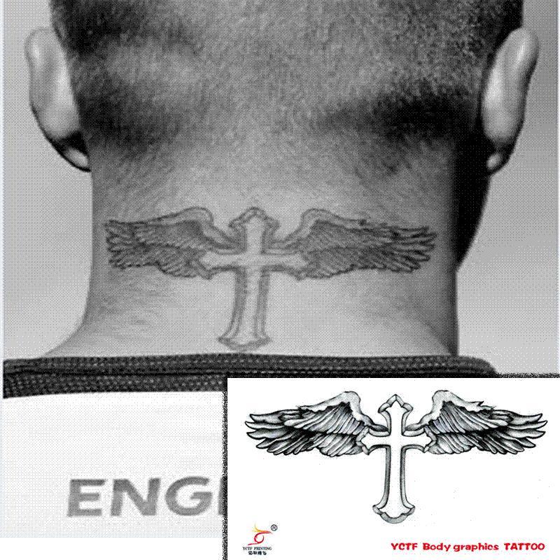 Tatuajes Temporales Cuello Espalda Cuerpo Cruz Alas Hombres