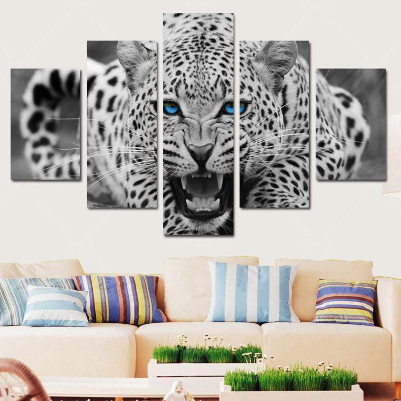 5p arte de la pared del hogar moderno hd imagen de la lona estudio de impresión decoración de la sala tema-África leopardo sin marco
