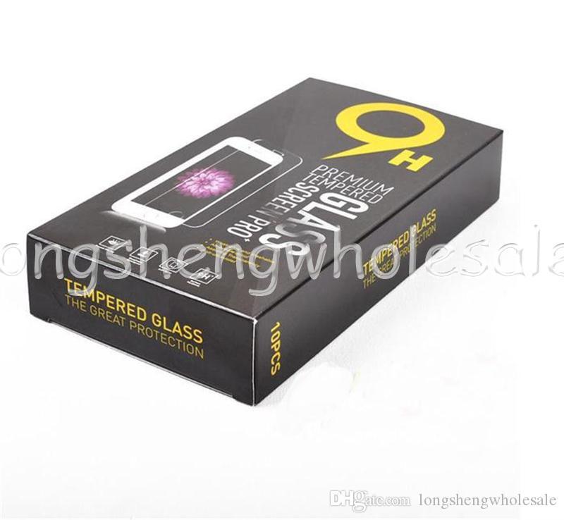 Boîtes de papier de paquet de détail vide chaque boîte Emballage de la vitrine trempé de prime 9H Protector Sony iPhone Samsung