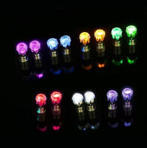 Newest Christmas party light up CZ crystal earrings men women kids dance club LED Luminous Stud Flash Earrings festive event props gift