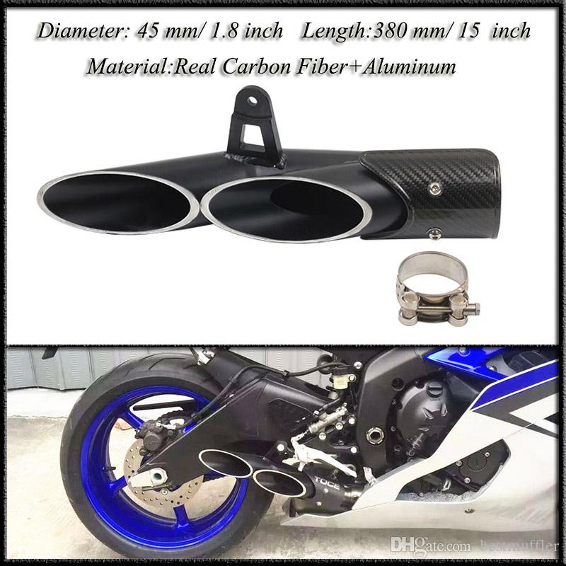 R6 45 mm/ 1.8 inch Universal Exhaust Pipe Dual Tail Pipe Slip On Dirt Street Bike Motorcycle