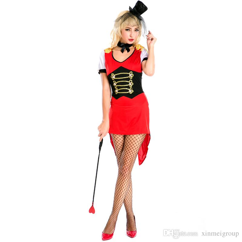 686ecfa35 Sexy Red Magician Dress for Women Halloween Costumes Animal Trainer  Tailcoat Carnival Fantasy Cosplay Short Sleeve Fancy Dress A158623 Red  Magician Dress ...