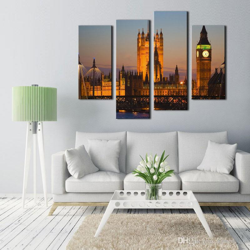 4 Picture Combination Wall Art For Home Decoration Big Ben House Of Parliament Westminster Bridge Dusk London Architecture