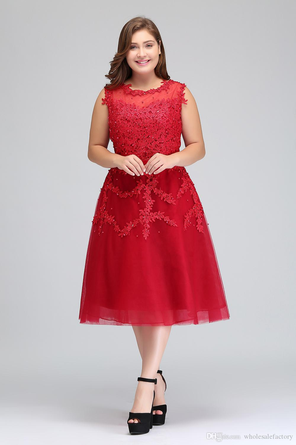 Real Image Plus Size Red Lace Short Cocktail Dresses Tulle Lace Beaded Knee Length A Line Formal Party Evening Dresses CPS298
