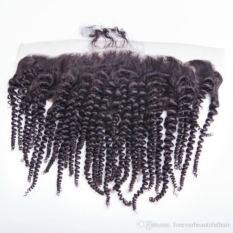 13x4 Sapıkça Kıvırcık Dantel Frontal Kapatma Demetleri ile Brezilyalı Insan Bakire Saç Sapıkça kıvırmak 3 demetleri ile kapatma