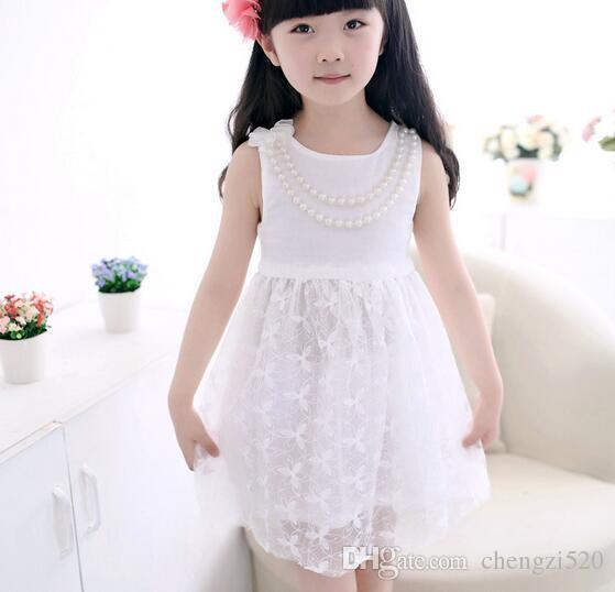 White Pearl Necklace Pink Yellow Summer Dress Solid Color Chiffon Dress Vest Dresses Kids Clothing Baby Dresses Girl YH270
