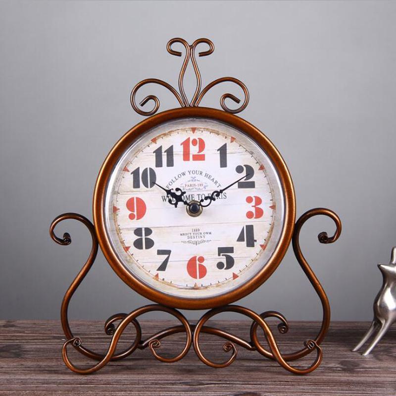 11 بوصة خمر الحديد الفن الصامت ساعة - ساعة سطح المكتب الديكور المنزل - الرجعية ساعات السرير ومكتب مكتب بطارية تعمل