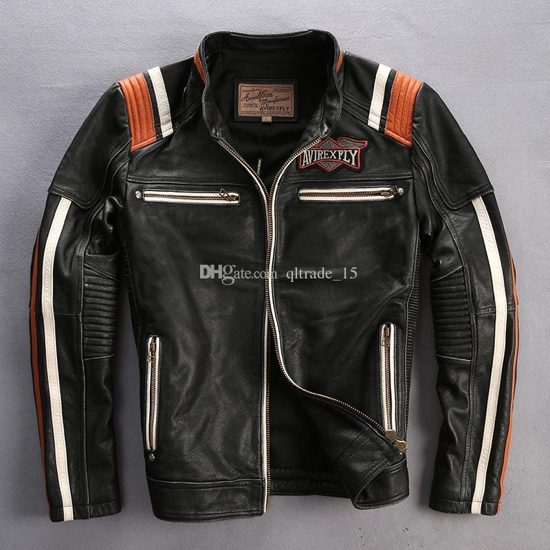 Vintage schwarz AVIREXFLY Männer echte Lederjacken der ursprüngliche amerikanische Zoll Motor Geist Schädel Kopf Stickerei Motorradjacken