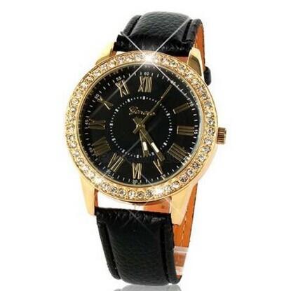 Faux cuir Bracelet Cristal d'Or Pierre Quartz unisexe Femmes Hommes Nombre romaine Quartz montre-bracelet Lady Stylish Girl Dial Montre analogique