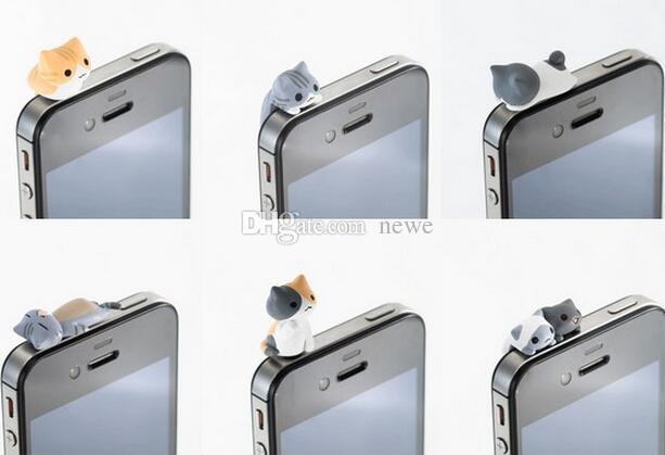Yeni Gelmesi 3.5 MM Cep Telefonu Kulaklık Jack Için Sevimli Karikatür Kedi Modeli Toz Geçirmez Tak iPhone Android Akıllı Telefon