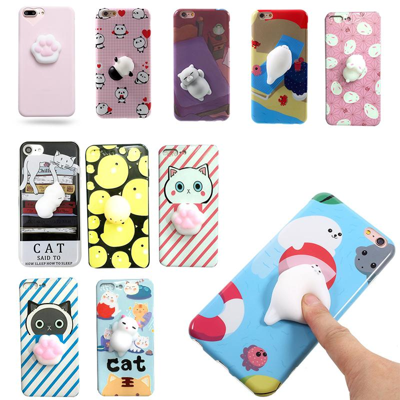 watch 4ee1a 8637c Squishy Mobile Phone Cases For iphone 8 7 7Plus 6 6S 6 Plus 6sPlus 3D  Pattern Pinch Cute Cat Animal Soft Silicone Back Funda Cover