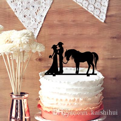 Unique Wedding Cake Topper Cowboy And Cowgirl Silhouette Wedding Cake Topper With Horse Bride And Groom Wedding Cake Topper