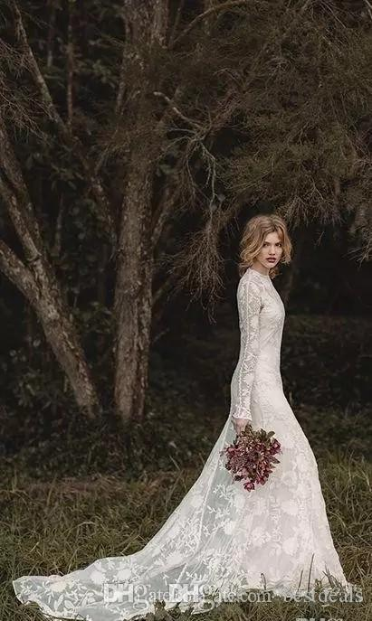 Elegant Lace Bohemian Long Sleeve Wedding Dresses 2020 Sheer Neck Full Back Floor-length A-line Country Bridal Dresses Cheap Gown