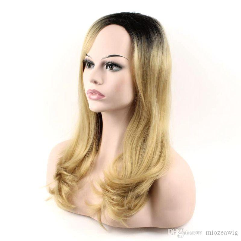Hair Long Wavy Wig Synthetic Hair Natural black Ombre Golden Wig High Temperature Fiber 20inch Women Wigs