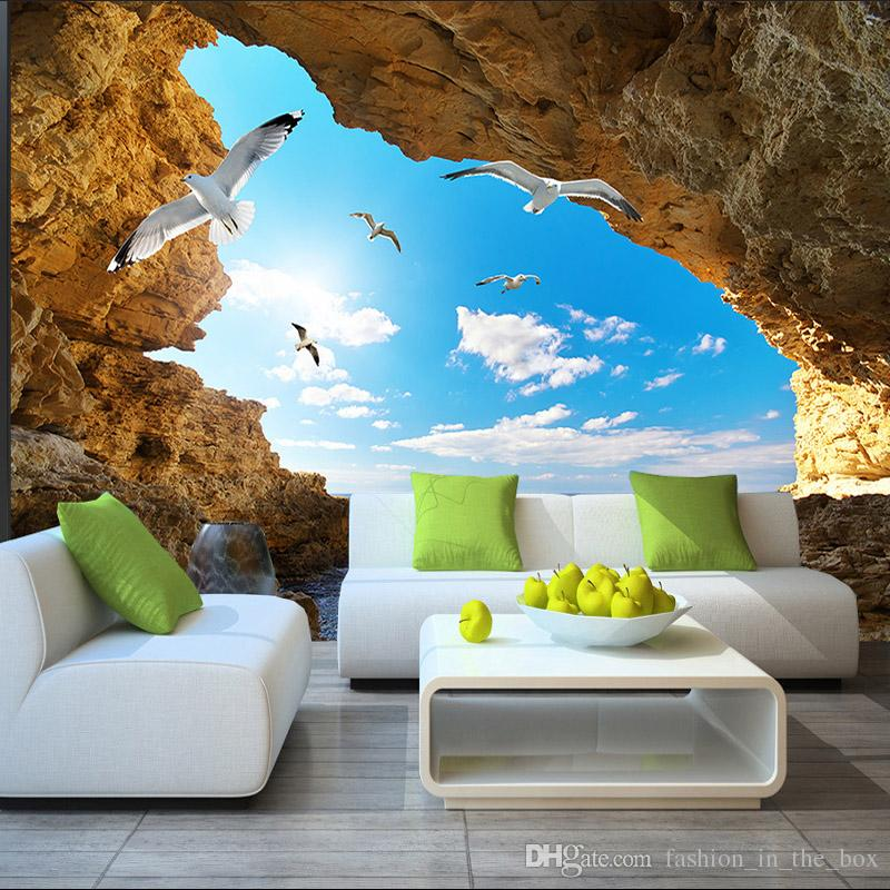 Beach tropical wall mural custom 3d wallpaper for walls for Images of 3d wallpaper for bedroom