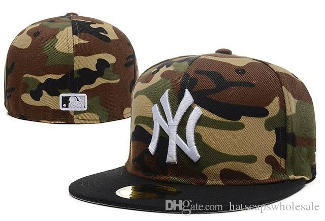 2018 Top Quality Camouflage Stye Ny Fitted Caps Men S Sport Team Baseball NY  Full Closed Design Hats Bones Cheap Popular Hip Hop Hat 47 Brand Hats  Vintage ... 86435950f42
