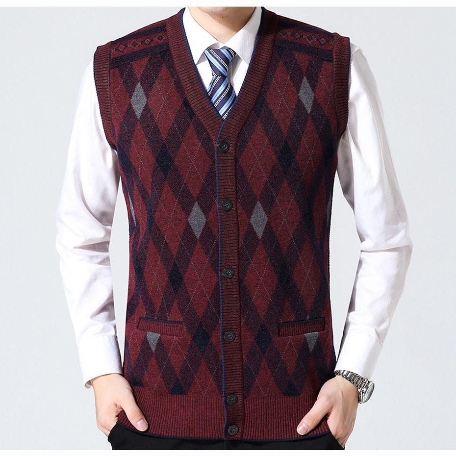 2017 New Men'S Wool Sweater Cardigan Jacket Thick Sleeveless ...