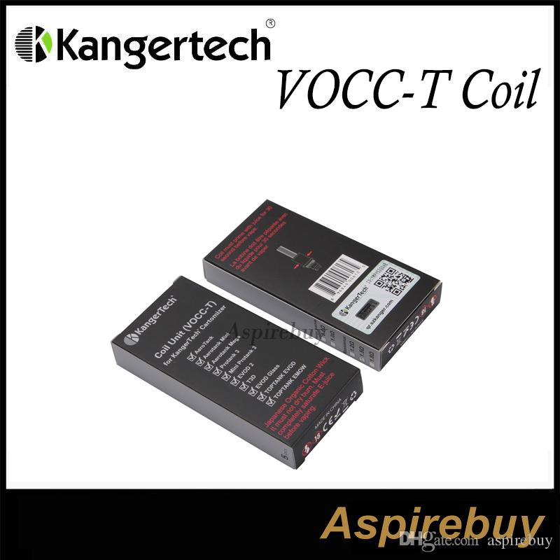 Kanger Vocc-T Bobin Kanger VOCC-T atomizer Kafa Suit tüm KangerTech Çift Bobin için Atomizer Organik Pamuk 1.5ohm TOPTANK EVOD için Ücretsiz DHL