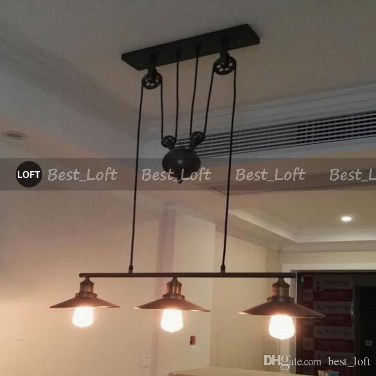 3 Head Vintage Iron RH Loft Industrial LED American Country Pulley Pendant Lights Adjustable Wire Lamps Retractable Bar Lighting with mirror