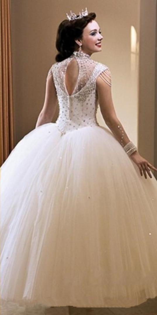 2016 Arabo Abiti Da Sposa Economici Collo Alto In Rilievo Increspato Tulle Ball Gown Keyhole Indietro Plus Size Abiti Da Sposa Custom Made