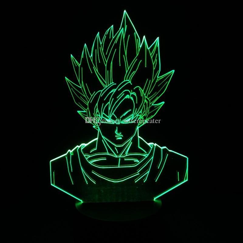 Goku Dragon Ball 3D Illusion Lampe RGB Coloré Night Light USB Alimenté Batterie Bin Dropshipping Coffret Cadeau Expédition Rapide