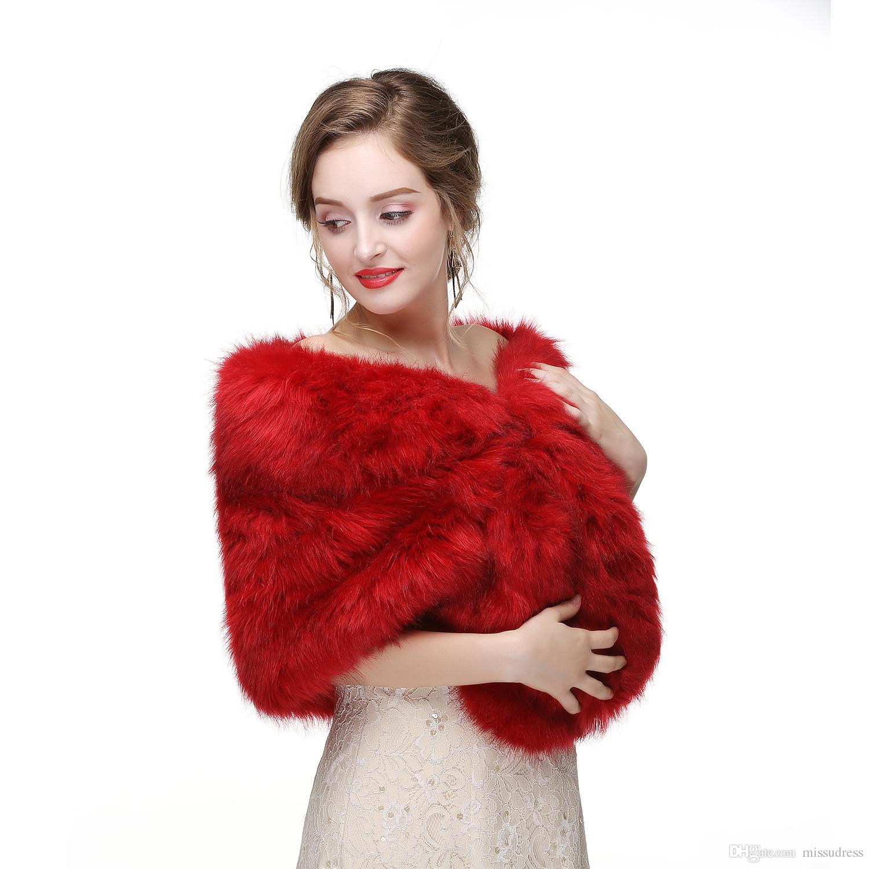 2017 Bridal Wraps Bolero Faux Fur For Wedding Evening Party Prom Jacket Coat Winter White Fur Shawl Wedding