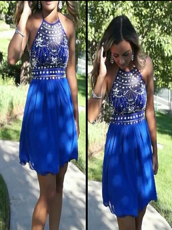 2016 Royal Blue Short Homecoming Dresses Cheap With Halter Neck Sequins Beaded Draped Chic Junior Graduation Dress For Formal Party Prom