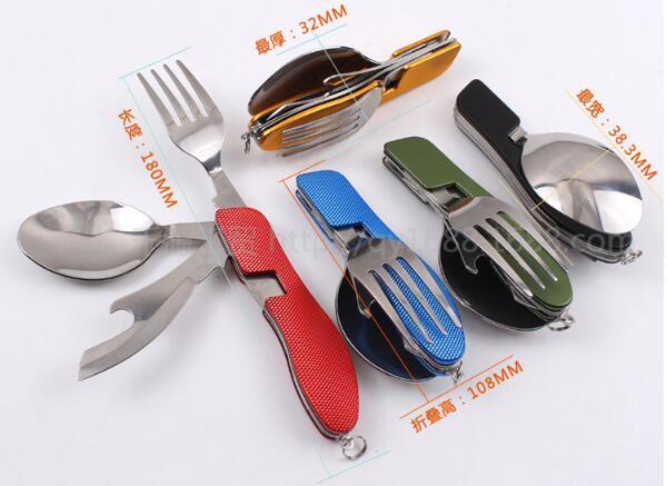 Cuchillero de picnic para exteriores, de múltiples funciones, de acero inoxidable Cubiertos 4 en 1 Cuchara plegable Tenedor Cuchillo Abrebotellas