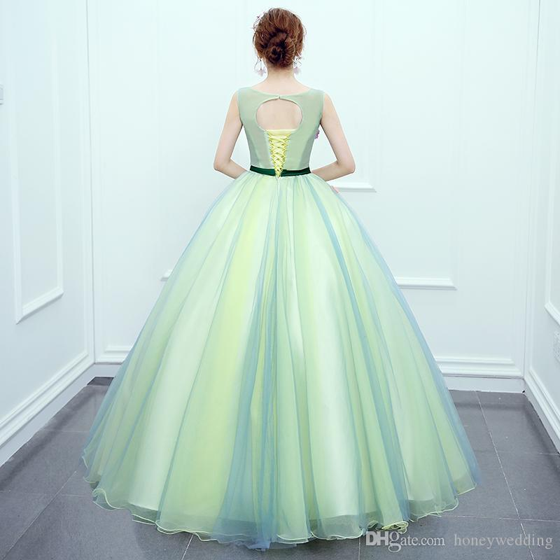 Mint Green Ball Gown Prom Dresses Cheap 2017 New Quinceanera Dresses Sweet 16 Teens Birthday Party Dress 2018 Masquerade Ball Gowns