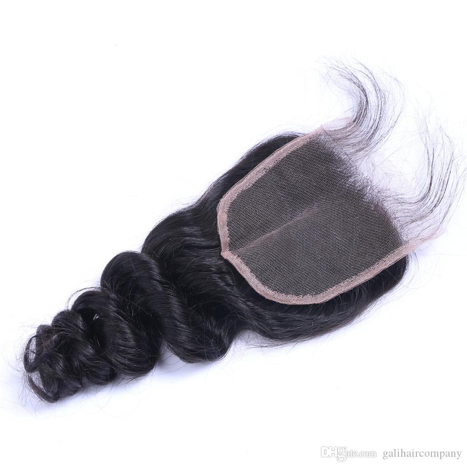Роскошные 8а бразильский малайзийский перуанский Индийский Свободная волна волос 4x4 кружева закрытие естественный цвет Dyeable нет пролить мягкий Бесплатная доставка плата DHL