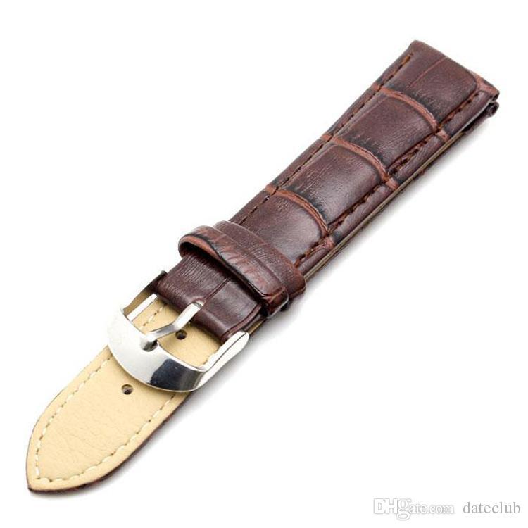 Newest Brand Durable waterproof Brown Men Women Black Leather Watchband 12mm 14mm 16mm 18mm 19mm 20mm 22mm