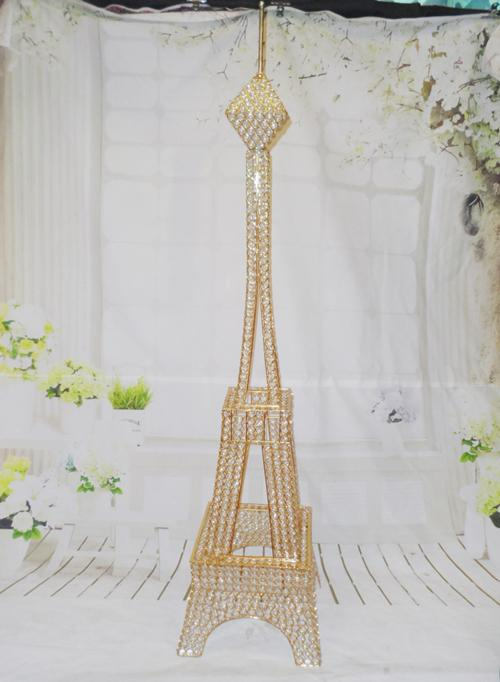 4ft Gold Crystal Bead Metal Paris Eiffel Tower Statue Vase