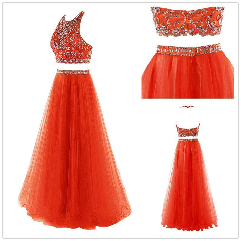 Großhandel Chic Orange Lange Prom Kleider 2 Stück Halter Top Sheer ...