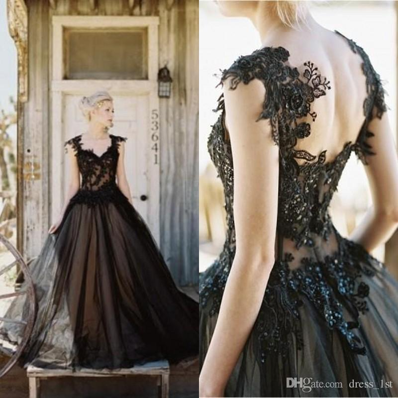 Discount Vintage Black Gothic Wedding Dresses A Line: Discount Vintage 2016 New Arrival Black Tulle Lace