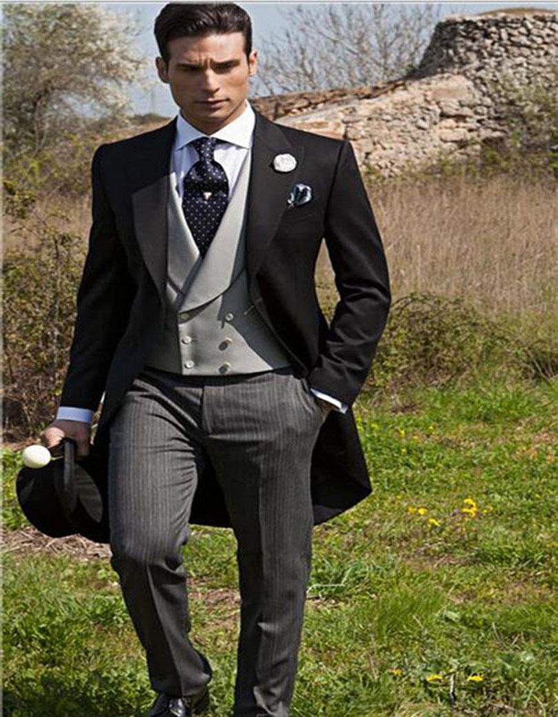 Wholesale- Morning Style One Button Black Groom Tuxedos Groomsmen Mens Wedding Suits Formal Dress (Jacket+Pants+Vest+Tie) NO:094