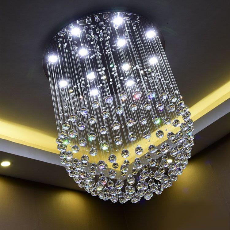 Yeni Modern LED K9 Topu Kristal Avizeler büyük avize ışıkları avizeler modern oturma odası GU10 rustik kristal avize