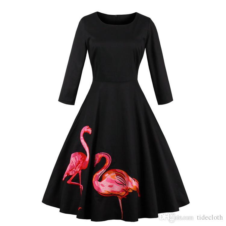 a8729e1833a4 Compre Vintage Das Mulheres Dos Anos 50 60 S Rockabilly Audrey Hepburn  Vestido Pin Up Magro Grande Plus Size Vestidos De Balanço Retro Coquetel  Vestidos ...