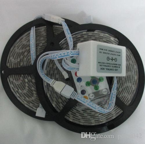 Course de chevaux couleur de rêve 5m 5050 RVB Chassant la bande flexible DC 12V + Télécommande IR 54led / M
