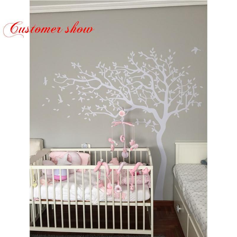 Huge White Tree Wall Decal Nursery Tree And Birds Wall Art Baby - Wall decals white tree