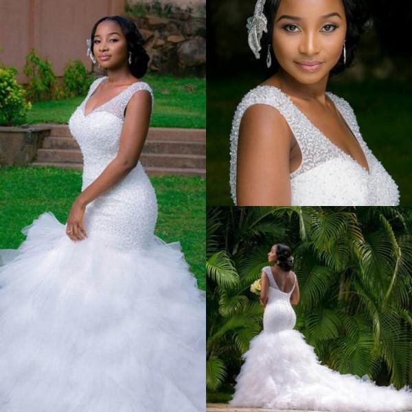 d43767385 Ver Vestidos De Noiva Mermaid De Luxo DREAM DRESS WEDDING Shinny Beaded Top  Lace Up Voltar Fit E Flare Ruffles Saia Vestido De Noiva Vestidos De Noiva  Trem ...