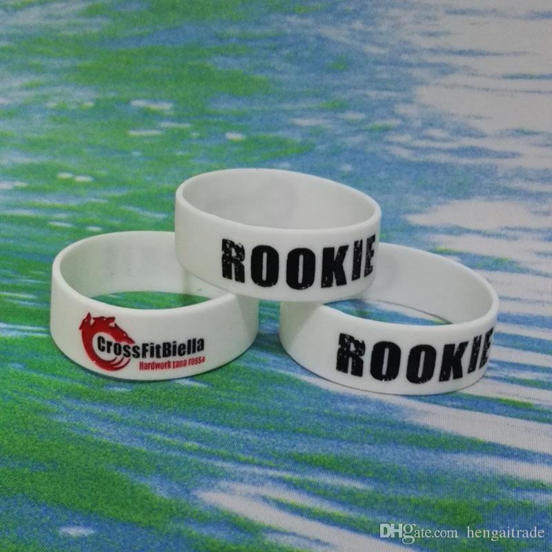 Alta Qualit 3/4 inch RO0KIE Debossed E Inchiostro Filled Stock braccialetti di gomma di silicone braccialetti regali promozionali SS003